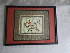 Vintage Asian Framed Embroidery on Silk - Bird and Branch Blossoms