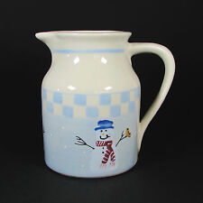 Hartstone Pottery SNOW PEOPLE 2Qt Pitcher Hand Painted Stoneware Snowman 1990