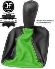 BLACK & GREEN TOP GRAIN LEATHER GEAR GAITER FOR SUBARU IMPREZA WRX STI 2005-07