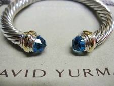 David Yurman 7mm Blue Topaz Cable Bracelet with Pouch & Free Shipping