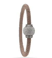 14 Karat Rose Gold Plated Stainless Steel Bracelet with Crystal Ball