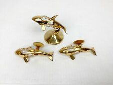 Vintage 24K Gold Plated Crystal Mascot Intl Whales Sun Catcher Ornament