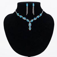 Rhinestone Bridal Drop Wedding Crystal Earrings Necklace Jewelry Sets