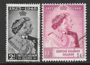 British Solomon Islands 1948 Silver Wedding 2d SG75 & 10s SG76 Fine Used