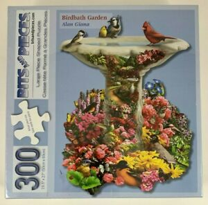 Bits & Pieces Bird Bath Garden 300 Piece Large Piece Shaped Puzzle Flowers Birds