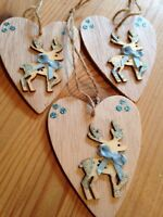 3 X Reindeer Christmas Decorations Rustic Nordic Shabby Chic Real Wood Blue