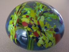 Floral Paperweight Paper Weight Yellow Blue Red Controlled Bubble Vintage Glass