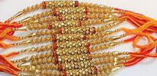 Beautiful Golden with red stones Rakhis, Raksha Bandhan, single piece (03)