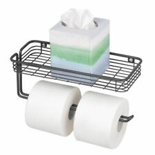 mDesign Metal Wall Mount Toilet Tissue Paper Holder/Storage Shelf - Matte Black
