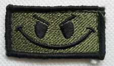 New US BDU Patch Smile OD With Hook Back Black--Airsoft Cosplay
