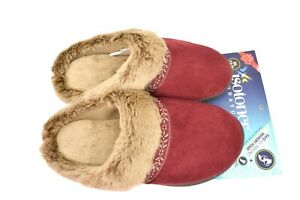 🔴 XL 9.5-10 🔴 Isotoner Women's Faux Suede Amanda Clog Slippers Chili Red