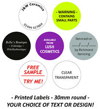 Custom Printed Personalised Stickers Sticky Labels - 1000 30mm Round Circular
