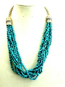 """Classy Navajo 10 Strand Turquoise Nugget Necklace 24"""" Sterling Silver"""