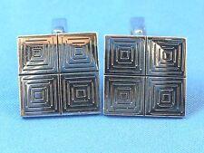 Vintage SWANK Cuff Links Pair Cufflinks Silver Tone Deco Style Square Cufflink