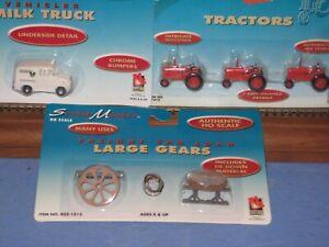 3 HO LL Scenic Master: 3 tractors, Divco Milk Truck, Flat car load-gears C-10 sc