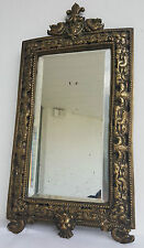 MIROIR Circa 1800 BRONZE XIXe 19e Decors DAUPHIN Couronne LYS Mirror Biseaute
