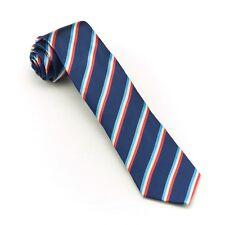 Mens Skinny Tie Slim Woven Necktie Fashion Business Wedding Tie Navy Red100%SILK