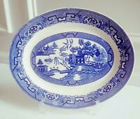 "VTG Homer Laughlin Blue Willow 13 5/8"""" Oval Serving Plate Platter C47 N6"