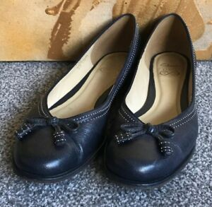 CLARKS BERE BOMBAY NAVY LEATHER BOW DETAIL FLAT BALLERINA SHOES SIZE UK 6