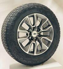 """20"""" Chevy Silverado Rst Gunmetal Oem Wheels Bridgestone A/T Tires Tpms"""