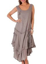 "Lagenlook Taupe polka dot Linen layered dress Made in Italy XXXL 44"" chest  New"