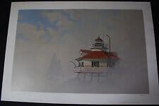 """John Barber """"Wild Duck"""" Rounding Hooper Strait Lighthouse Original Print Signed"""