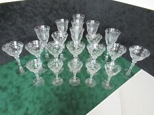 Art Glass Charitable Vintage Cut Engraved Lead Glass Crystal Hand Blown Conical Pint Set 6 Rare