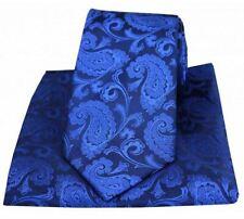 David Van Hagen Mens Paisley Woven Tie and Pocket Square Set - Royal Blue