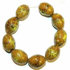 CPC322 Dappled Golden Yellow Large 28x20mm Tapered Oval Glazed Porcelain Bead 8""