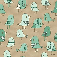 Fabric Birds Cooky Teal on Taupe Cotton by the 1/4yd