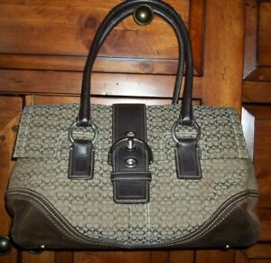 Coach Soho Mini Signature Brown Carryall Flap Bag Handbag 10929