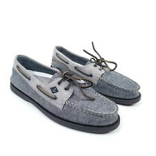 Sperry Top-Sider Boat Shoes Mens Size 8 M Gray Canvas Brown Leather Laces