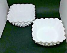Fenton Milk Glass Hobnail Square Dishes Scallop lot of  2 white trinket dish