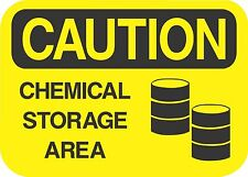 """CAUTION CHEMICAL STORAGE  (5 Pack) 3.5"""" x 5"""" Label Sticker Safety Sign Decal"""