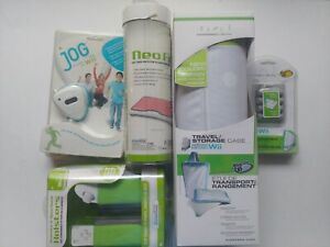 WII fit 5 item accessories bundle; rechargeable battery pack, nun chuck holster