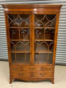Superb Quality E G Hughes Yew Wood Display Cabinet/ Library Bookcase