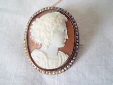 Antique jewellery  Cameo set with  seed pearls & unmarked  gold frame
