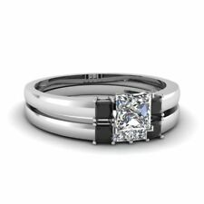 1ct Princess Cut VVS1 D Diamond Bridal Set Engagement Ring 14k White Gold Over