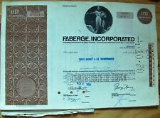 7 attached stock certificates Faberge, Inc. back w/ document broker Smith Barney