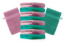 10er Pack Waschhandschuhe Premium Farbe: Smaragdgrün & Altrosa, Größe: 17x21 cm