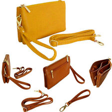 Yellow Clutch Bag Small Multi Compartment Pocket Crossbody Purse Wristlet Strap