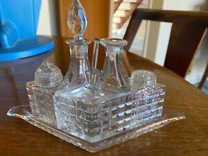 Vintage cut glass cruet set - 5 pieces on tray