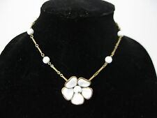 ESTATE Vintage Crown Trifari Alfred Philippe Poured Glass White Flower Necklace