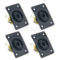 4 Pcs Black Metal Electric Guitar Rectangle Output Jack Socket 36X28mm