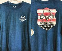 Mens Realtree Xtra Long Sleeve T-shirt Blue Heather Sz Large Antlers Flag Stars