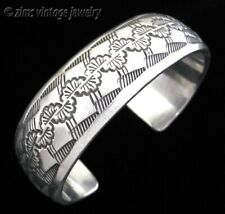 Native American NAVAJO signed TAHE Sterling silver Stamped heavy Cuff BRACELET