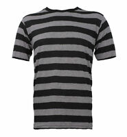 Adult USA Made Men's NYC Short Sleeve Punk Striped Shirt Black Gray S M L XL 2XL