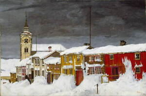 Harald Sohlberg Street in Roros in Winter Giclee Paper Print Poster Reproduction