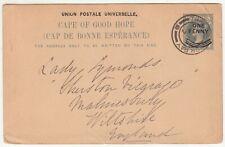 CGH: QV 1d Overprinted Postal Card; Three Anchor Bay to Malmesbury, 6 Aug 1902