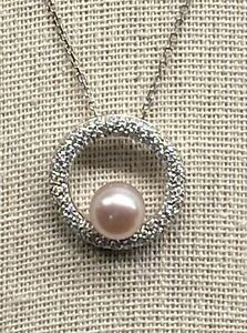 18k/14k White Gold Pearl and Diamond Necklace